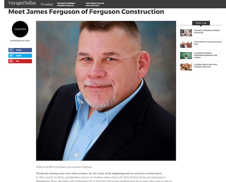 Founder & CEO, James Ferguson, in Voyage Dallas Magazine