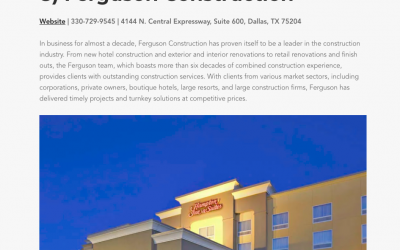 General Contractors Magazine names Ferguson Construction as One of the Top Hospitality Contractors in Fort Worth, Texas